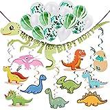 恐竜 誕生日パーティー DIYセット 恐竜 ハッピーバースデーバナー 15ピース グリーンホワイト 紙吹雪バルーン 30ピース 吊り下げ恐竜渦巻き