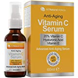 20% Vitamin C Serum - Made in Canada - Certified Organic + 11% Hyaluronic Acid + Vitamin E Moisturizer + Collagen Boost - Reverse Skin Aging, Remove Sun Spots, Wrinkles and Dark Circles, Excellent for Sensitive Skin + Includes Pump & Dropper 60 ml