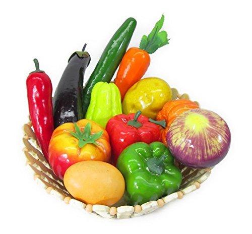 どっさり お野菜 & タマゴ 模型 食品サンプル 12種類セット 竹カゴ入り ディスプレイなどに...