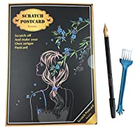 J-base 4枚入り スクラッチ ポストカード 削るだけで美しいアート スクラッチアート (beautyスクラッチペン刷毛付き)