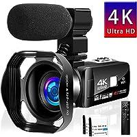 ビデオカメラ 4K デジタルビデオカメラ HDR 48MP WIFI機能 16倍デジタルズーム IR夜視機能 予備バッテリーあり 3.0インチタッチモニター 外部マイク 日本語取扱説明書 (4800万画素)