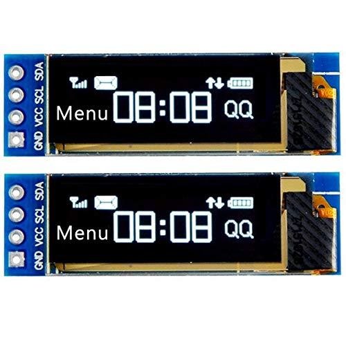 """2個0.91"""" IIC I2C シリアルOLED液晶ディスプレイモジュール I2C SSD1306 白色I2C OLEDスクリーンドライバArduino用DC 128x32 3.3V〜5V AVR PIC UNO MEGA Arduino"""
