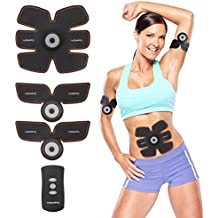 Abs Muscle Toner, HOMPO EMS Muscle Trainer Stimulator Belt Abdominal Toning Belt Body Fitness Slimming Equipment Machine Apparatus for Men & Women(USB Recharger)