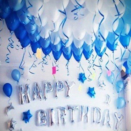 GRESATEK 誕生日 バルーン HAPPY BIRTHDAY ハッピーバースデー バルーン アルミバルーン 風船100個 ポンプ 両面テープ リボン 花びら 付き (星月セット)