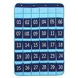 GORBAST 小物収納 数字 ウォール 多機能壁掛け式 カレンダーポケット 吊り下げ 収納 (ブルー, 30格)