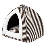 Ninkipet(ニンキペット)ペット ハウス ドーム型 2WAY 室内用 ペットベッド マット付き 快適 ふわふわ 通気性良い 暖かい クッション 夏冬 通年利用 中小型犬/猫用 (L, ブラウンストライプ)