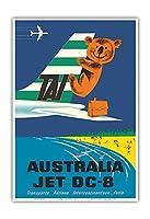 オーストラリア - TAI(国際航空運送) - ダグラスジェットDC-8 - コアラ - ビンテージな航空会社のポスター によって作成された セガン c.1960s - アートポスター - 33cm x 48cm