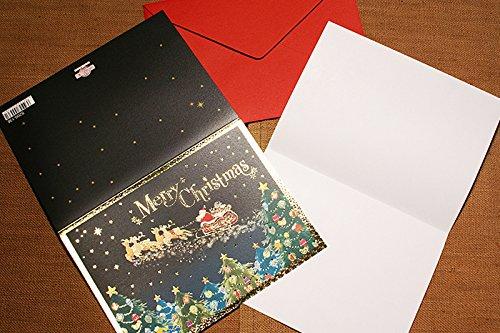 【洋風クリスマスカード】 夜空のサンタクロース 5枚セット