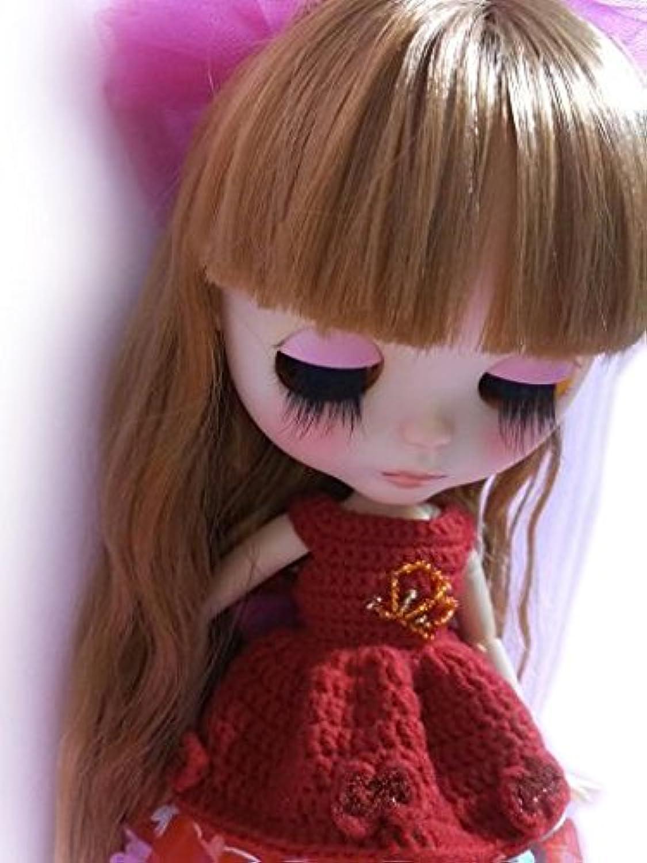 ブライス 1/6ドール用 アウトフィット 服 衣装 赤いニットのワンピース 恋の蝶々