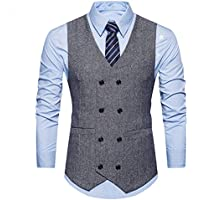 C2S Men's V-Neck Sleeveless Double Breasted Solid Business Blazer Waistcoat