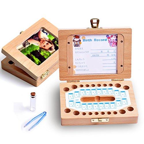 KAOKU 乳歯ケース 乳歯入れ 赤ちゃん用 乳歯ボックス 記念 トゥースボックス 木製 写真入れ可能 名前と抜けた日シール付き(日本語表記) 乾燥用綿付き うぶ毛を入れるミニボトル付き 男の子 女の子 (木製)