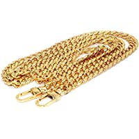 Tinksky Bag Iron Flat Chain Handbag Chains Metal Purse Straps Shoulder Cross Body Replacement Straps with Buckles (Gold)
