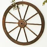 天然木製 車輪トレリス 焼杉(ダークブラウン) 直径80cm×厚さ35mm 焼き磨き WT-80DBR