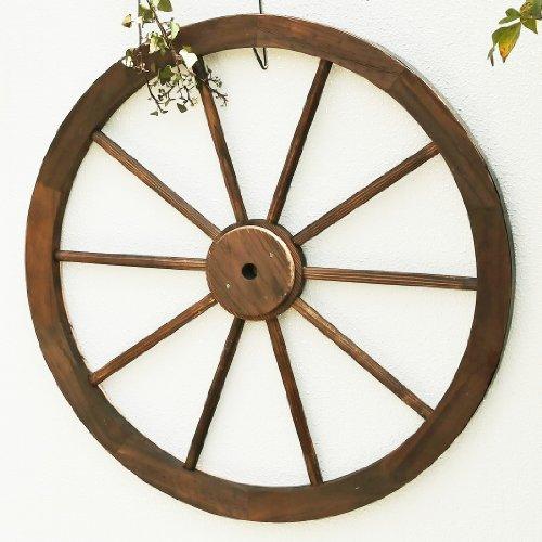 RoomClip商品情報 - 天然木製 車輪トレリス アンティークブラウン 直径80cm×厚さ35mm 焼き磨き WT-80DBR