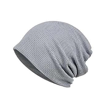 KISSTYLE 爽快 メッシュ 帽子 メンズ レディース サマーニット帽 薄手 抗がん剤 医療用帽子 通気性抜群 (グレー)