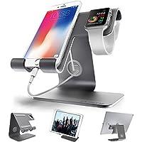 Apple watchスタンド Phone スタンド ZVE iphone充電スタンド スマホ スタンド グレースタンド スマートフォン充電クレードル アップルウォッチ 両用 充電デスクトップスタンドiPhone/iPad/Apple/iwatch /Galaxy/Nexus/Kindle/Nintendo Switch対応 18月保証 (灰色)