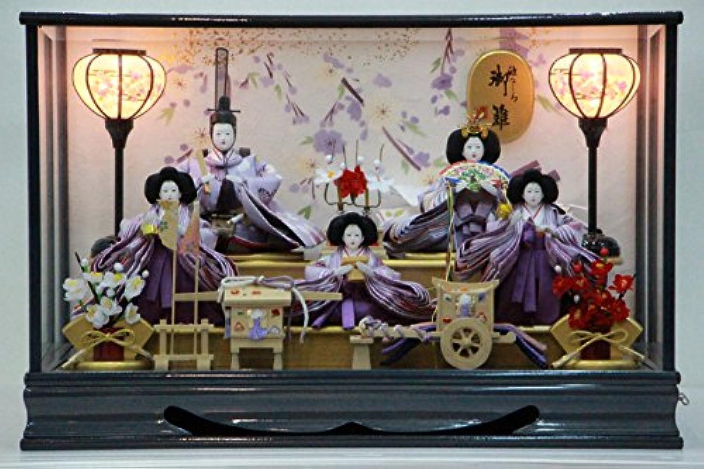 雅なこころ 御雛 ガラスケース雛飾り 五人 【雛人形ケース飾り】