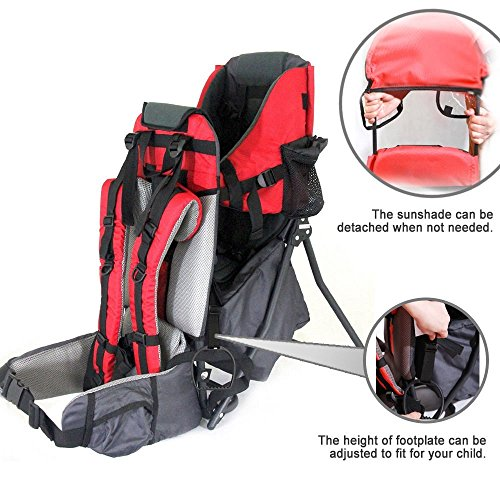 Baby Toddler Backpack Crosscountry Carrier w/Stand Child Kid Sunshade Visor (red)