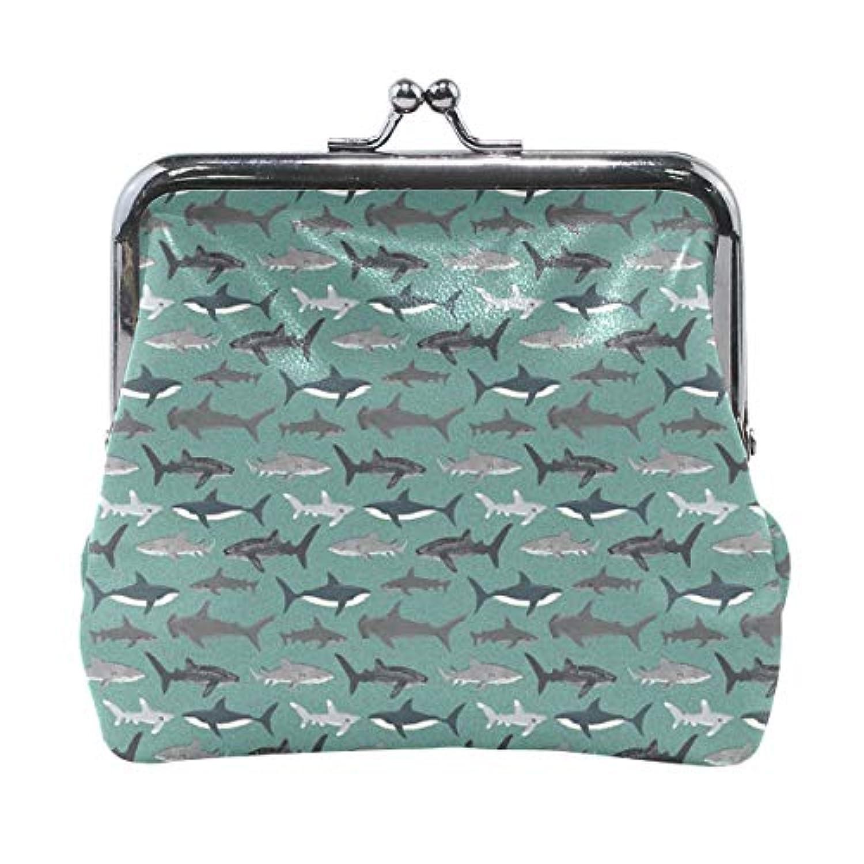 がま口 小銭入れ 財布 サメ柄 コインケース レザー製 丸形 軽量 人気 おしゃれ プレゼント ギフト 雑貨