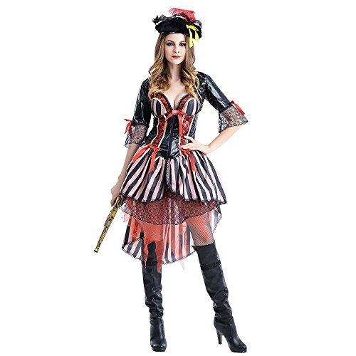 KiniKiss ハロウィーン Halloween 女海賊 パイレーツ コスプレー コスチューム 服装 (XL, パープル)