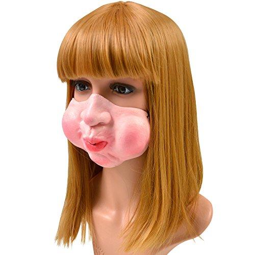 おもしろ フェイス ハーフ マスク 仮装 コスプレ 小物 パーティー 雑貨 変顔 (B:ほっぺた)