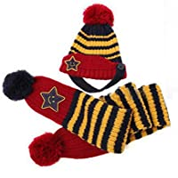 【Anjelly】 ベビー & キッズ 用 ニット帽 & ロングマフラー セット かわいい ボーダー?スター おまけ付 選べる5色