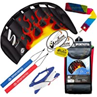 HQ Symphony Beach III 1.3 KiteブラックFlame +テールバンドル( 4 Items ) + 20 ftレインボープラスチックKite Tail Streamer + WindBone Kiteboardingライフスタイルステッカー