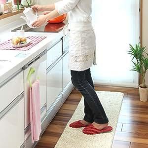 洗える キッチンマット すべり止めつき 無地 マット 床暖房対応 台所マット 〔45×180cm〕 アイボリー