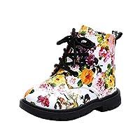 女の子子供用花の靴 暖かい キッズシューズ ベビーマーティンブーツカジュアルな子供のブーツ OVERMAL (25, 白いもの)