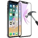 iPhone X ガラスフィルム, iphone x フィルム 3D全面保護 ブルーライトカット 9H 耐衝撃 Touch対応 強化ガラスフィルム 超耐久 99%高透過率 iPhoneX 5.8インチ専用 (ブラック)