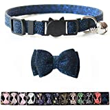 M-YOUNG Cat Collar Christmas Breakaway with Bell and Bow Tie, Leopard Print Design Adjustable Safety Kitty Kitten Collars(6.8''-10.8'') (18)