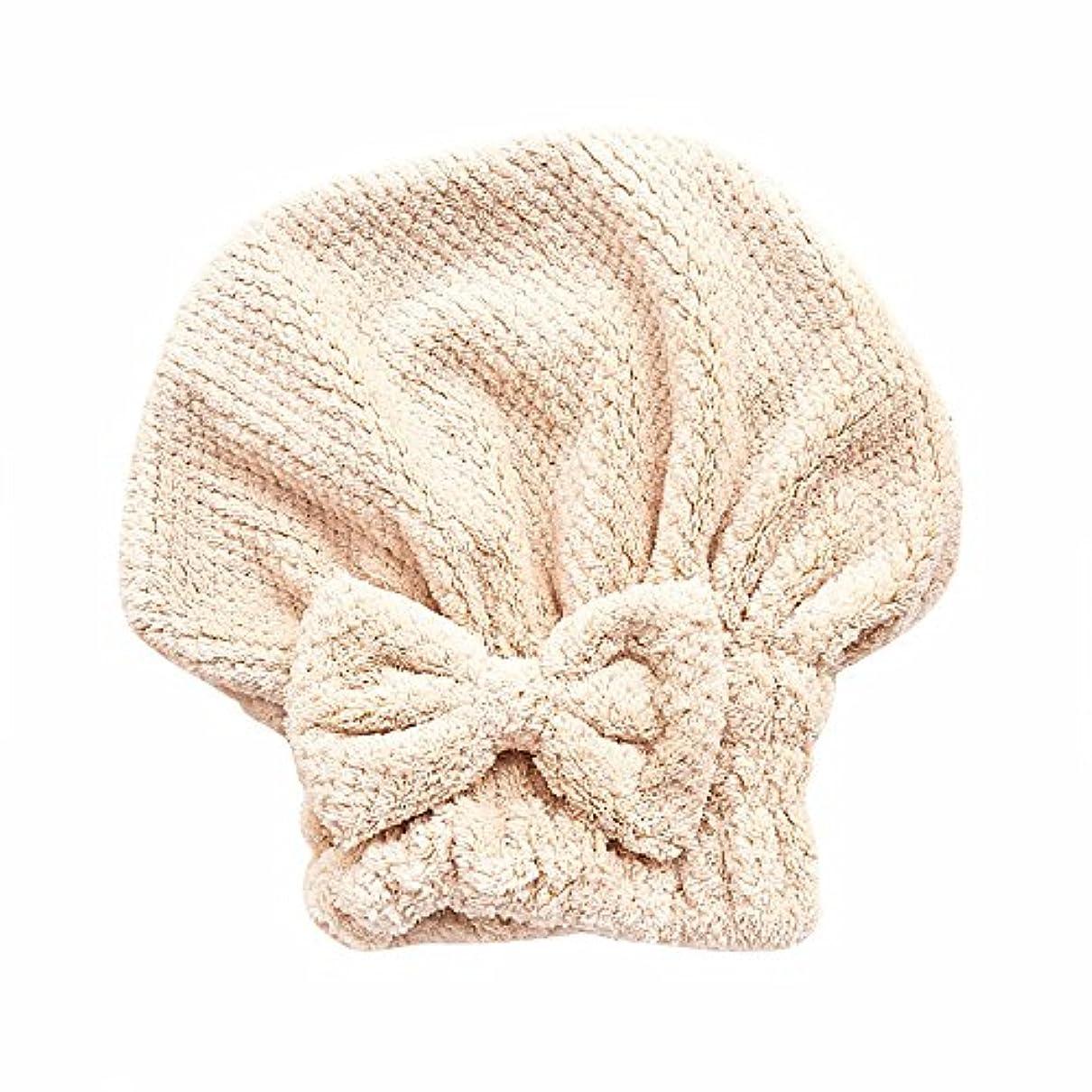 安定同級生序文ボコダダ(Vocodada)タオルキャップ ヘアキャップ 吸水 ヘアドライタオル 速乾 マイクロファイバー ヘア 乾燥 タオル 帽子 キャップ 風呂 ふわふわ 厚い 蝶結び 可愛い お姫様 26*27cm (カーキ)