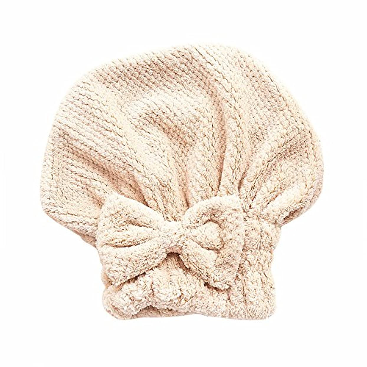 差別的アナログ渦ボコダダ(Vocodada)タオルキャップ ヘアキャップ 吸水 ヘアドライタオル 速乾 マイクロファイバー ヘア 乾燥 タオル 帽子 キャップ 風呂 ふわふわ 厚い 蝶結び 可愛い お姫様 26*27cm (カーキ)