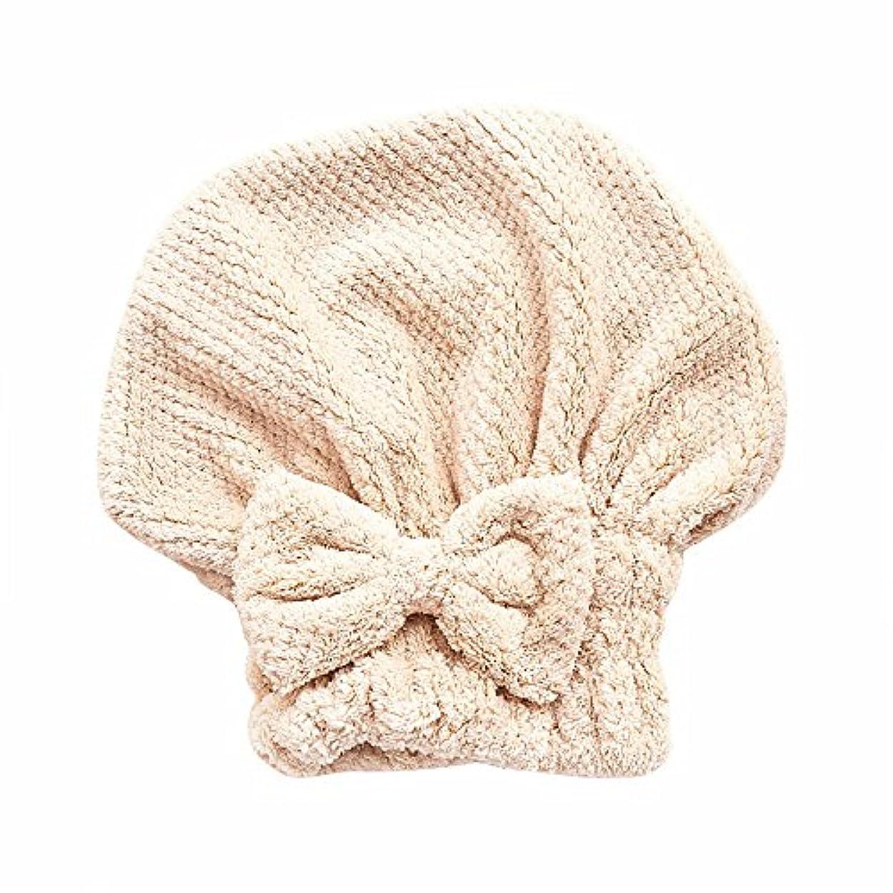 料理気質期待するボコダダ(Vocodada)タオルキャップ ヘアキャップ 吸水 ヘアドライタオル 速乾 マイクロファイバー ヘア 乾燥 タオル 帽子 キャップ 風呂 ふわふわ 厚い 蝶結び 可愛い お姫様 26*27cm (カーキ)