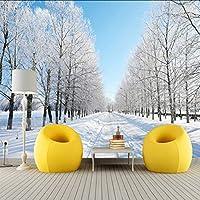 Lixiaoer カスタム3Dフォト壁紙現代冬景色雪道白木壁壁画壁紙用寝室の壁Sパラ-120X100Cm