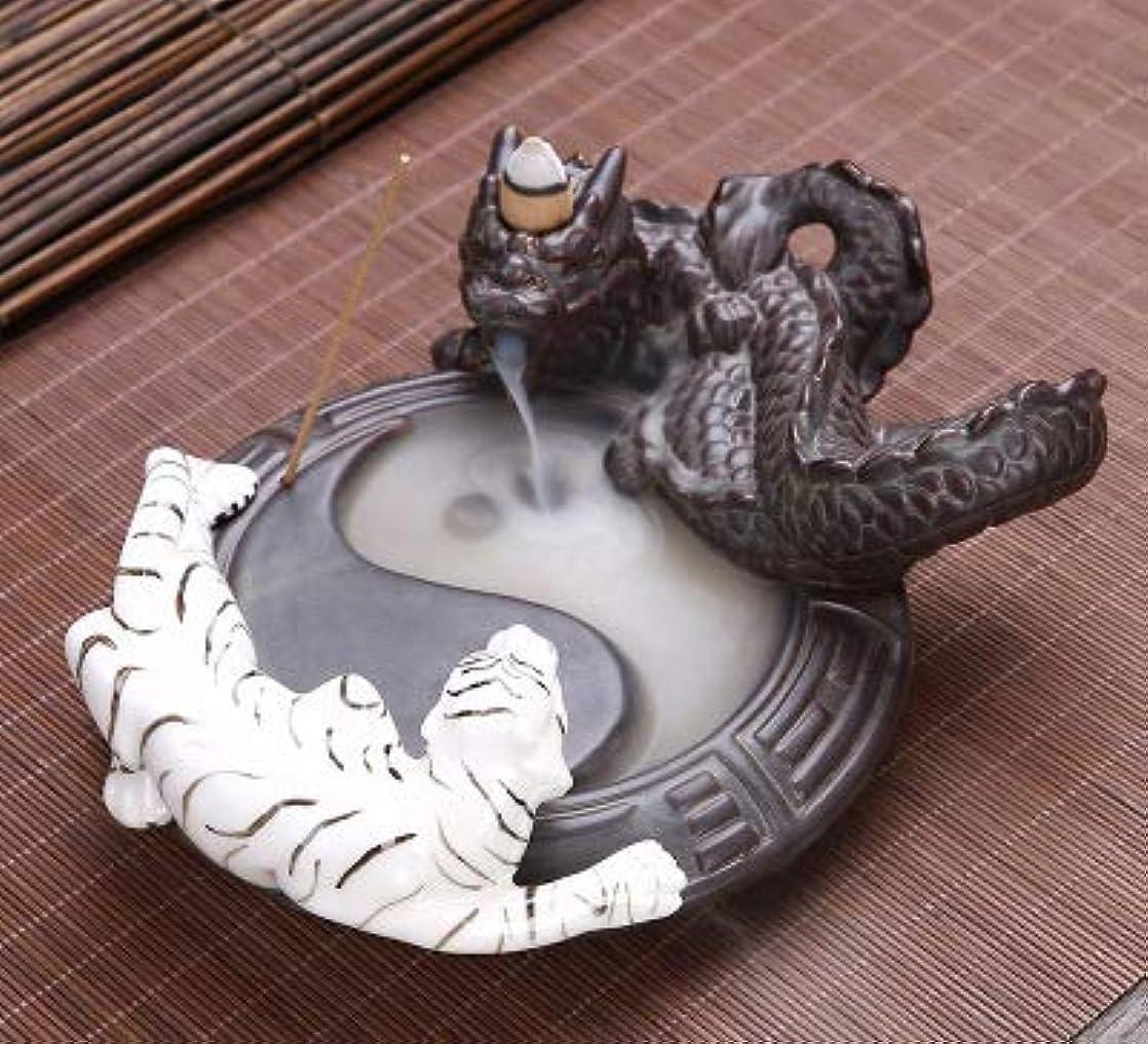瞬時に女将見えるPHILOGOD 陶器香炉 ドラゴンとトラの戦い太極スタイリング 線香立て 香皿