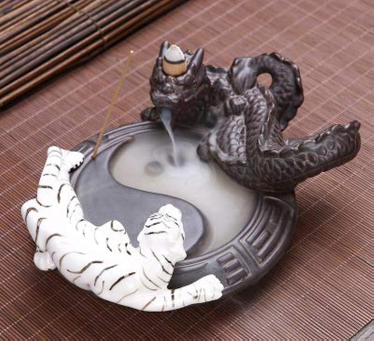 圧倒的本土オーナーPHILOGOD 陶器香炉 ドラゴンとトラの戦い太極スタイリング 線香立て 香皿