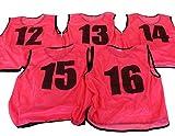 ビブス ゼッケン 12-16番 5枚セット 3サイズ 全11色 【 フットサル サッカー バスケ イベント等 】 2セット(10枚以上)以上ご注文で収納袋付き