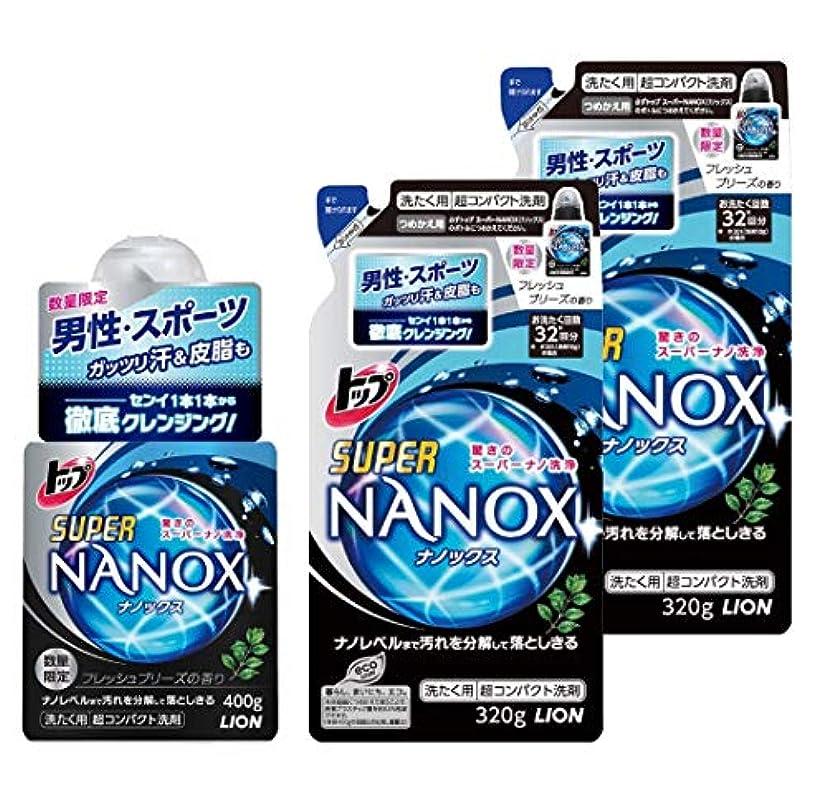 円形実験ゴールデン【まとめ買い】トップスーパーNANOX for MEN 洗濯洗剤 液体 フレッシュブリーズの香り本体 400g+つめかえ用 320g×2個