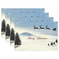 Carrozza ランチョンマット テーブルマット 雪柄 サンタクロース シカ クリスマス ツリー 食卓マット 給食 マット テーブル レストラン用 おしゃれ 洗える かわいい 防汚 滑り止め 6枚セット 家族 子供用