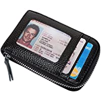VIVOCASE Genuine Leather Multi Card Money Organizer Credit Card Holder Zipper Wallet