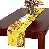 LKCDNG テーブルランナー 黄色の地色 象 クロス 食卓カバー 麻綿製 欧米 おしゃれ 16 Inch X 72 Inch (40cm X 182cm) キッチン ダイニング ホーム デコレーション モダン リビング 洗える