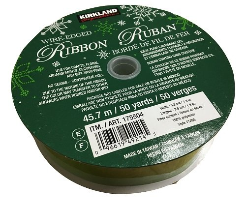 KS(カークランド) ワイヤーエッジリボン Wire-Edged Ribbon 3.8cm幅 45.7m #17D02 ライトグリーン