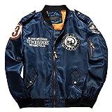 メンズ ジャケット ブルゾン ミリタリー ジャンパー フライジャケット MA-1 黒 緑 紺 M L XL (ネイビー XL)