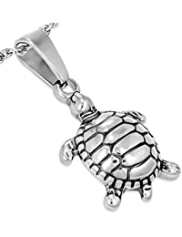 Stainless Steel Silver-Tone Turtle Pendant Necklace
