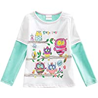 VIKITA Toddler Winter Girl T-Shirt Cotton Long Sleeve Baby Girls Winter Clothes for 2-8 Years