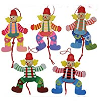 Keler木製Puppet Toy Clownプル文字列おもちゃ(ランダムカラー)