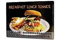 カレンダー Perpetual Calendar Nostalgic Fun G. Huber Breakfast Lunch Dinner Tin Metal Magnetic