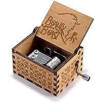 huntmic木製手クランク美女と野獣音楽ボックスDavy Jonesロケットテーマ木製音楽ボックス