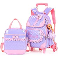 Hollwald Cute Fashion Lovely Trolley Bag Girls Wheeled Travel Rolling Backpack/Rucksack for Short Breaks Holidays Sleepovers and School Trips Two-piece set Luggage with Small Book Bags Waterprooffor Boys Girls Kids Teenagers Students